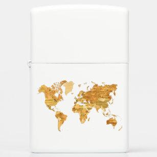 wooden world map zippo lighter