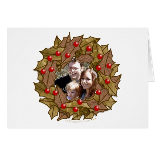 Wooden Wreath Custom Photo Card for Woodworkers