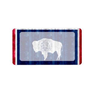 Wooden Wyomingite Flag Label