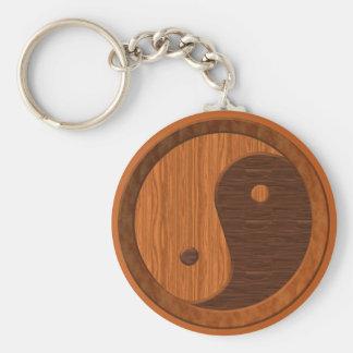 Wooden Yin Yang Basic Round Button Keychain