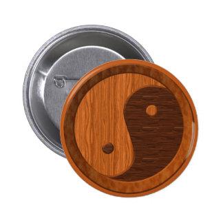 Wooden Yin Yang Pinback Buttons