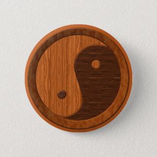 Wooden Yin Yang Pinback Button