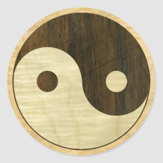 Wooden Yin Yang Symbol Classic Round Sticker
