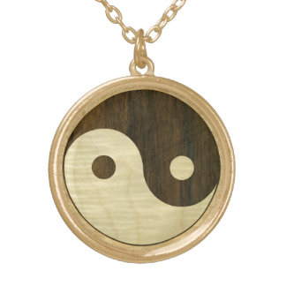 Wooden Yin Yang Symbol Gold Plated Necklace