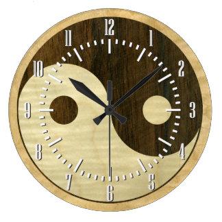 Wooden Yin Yang Symbol Large Clock