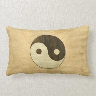 Wooden Yin Yang Symbol Lumbar Pillow