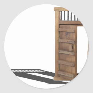 WoodenCastleDoorBarUnlocked021613.png Pegatina Redonda