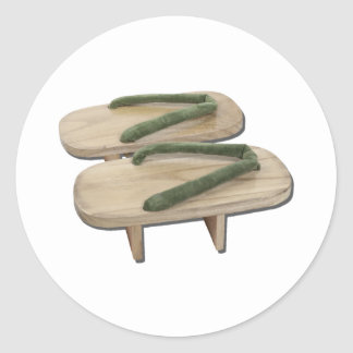 WoodenGetaShoes073011 Classic Round Sticker