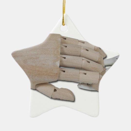 WoodenHandPalmReading100712 copy.png Ceramic Ornament