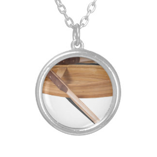 WoodenRowboatWithOars050314.png Round Pendant Necklace