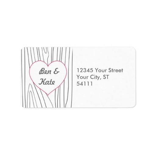 Woodgrain Address Labels - Pink and Grey
