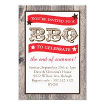 Woodgrain Backyard BBQ Invitation