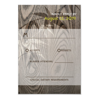 Woodgrain Bamboo Leaves Oriental Wedding RSVP Card