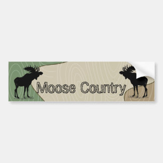Woodgrain Camo Moose Country Silhouette Bumper Sticker