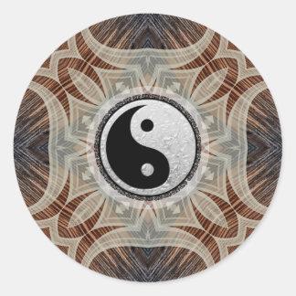 Woodgrain Geometric Art Yin Yang Sticker