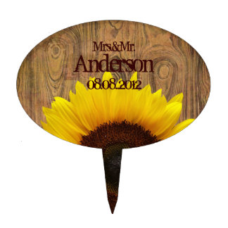 Woodgrain Rustic Country cowboyWedding Cake Topper