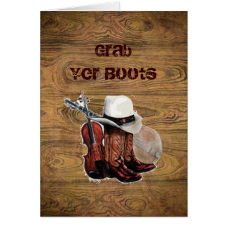 Woodgrain Rustic Country cowboyWedding Greeting Card