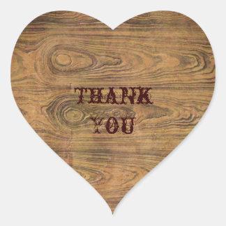Woodgrain Rustic Country cowboyWedding Heart Sticker