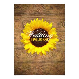 """Woodgrain Rustic Country cowboyWedding 5"""" X 7"""" Invitation Card"""