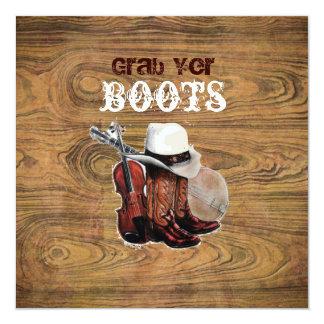 "Woodgrain Rustic Country cowboyWedding 5.25"" Square Invitation Card"