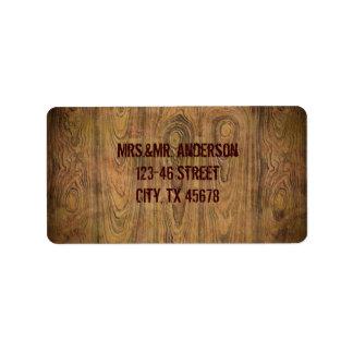 Woodgrain Rustic Country cowboyWedding Personalized Address Label