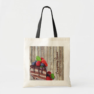 woodgrain rustic dessert chocolate cake bakery tote bag