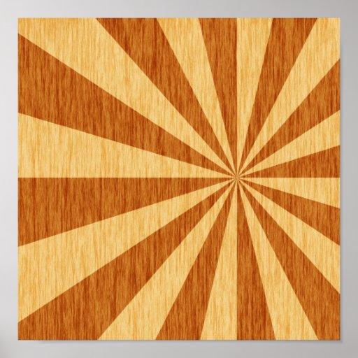 woodgrain starburst pattern poster