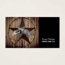 Woodgrain texas star cowboy western country pistol business card