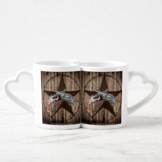 Woodgrain texas star cowboy western country pistol coffee mug set