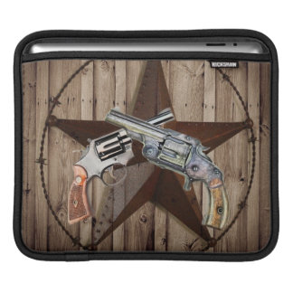 Woodgrain texas star cowboy western country pistol sleeve for iPads