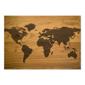 Woodgrain Textured World Map 3.5x5 Paper Invitation Card