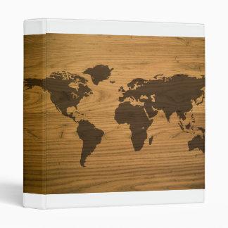 Woodgrain Textured World Map Binder