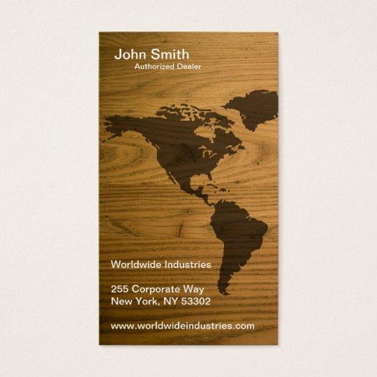 Woodgrain Textured World Map Business Card