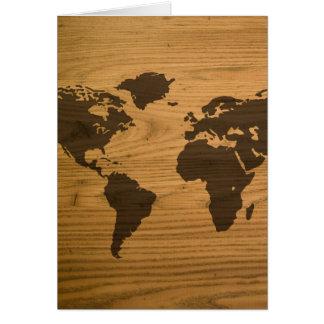 Woodgrain Textured World Map Greeting Card
