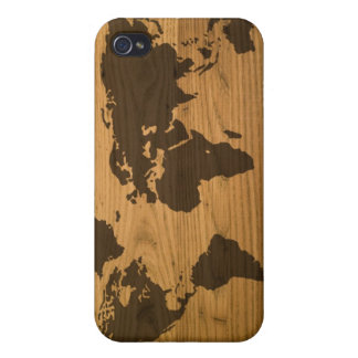 Woodgrain Textured World Map iPhone 4/4S Cover