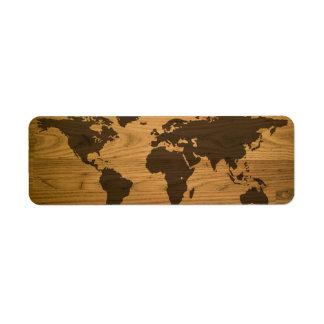 Woodgrain Textured World Map Return Address Label