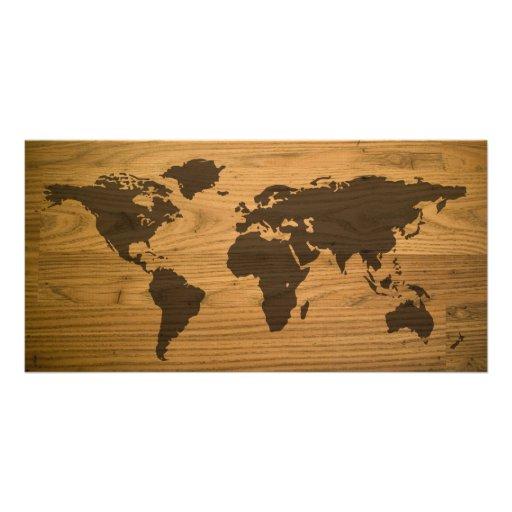 Woodgrain Textured World Map Photo Card