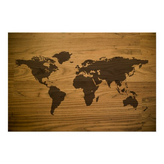 Woodgrain Textured World Map Poster