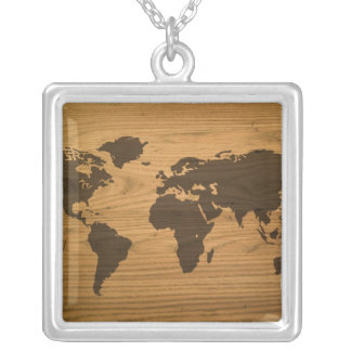 Woodgrain Textured World Map Silver Plated Necklace