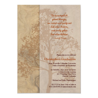 Woodgrain Tree Shadow Brown Graduation Invitation