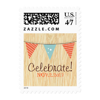 Woodgrain with Banner Postage Stamp