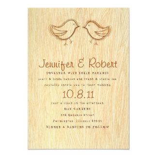 Woodgrain with Bird Sketch Wedding Invitation
