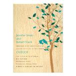 Woodgrain with Blue Love Birds in Tree Invitation