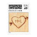 Woodgrain with Heart Postage Stamp