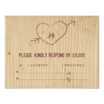 "Woodgrain with Heart Response Card 4.25"" X 5.5"" Invitation Card"