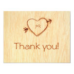 Woodgrain with Heart Thank you Note Personalized Invitations