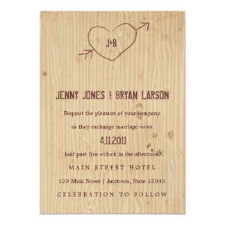 Woodgrain with Heart Wedding Invitation