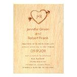 Woodgrain with Heart Wedding Invitation