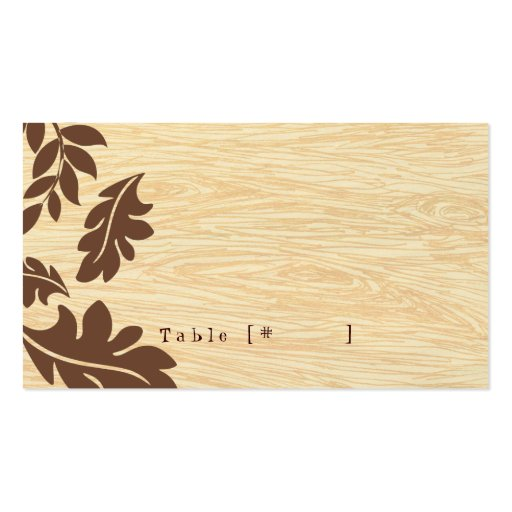 Woodgrain with Leaves Escort Card Business Cards