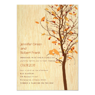 Woodgrain with Love Birds in Tree - Autumn Card